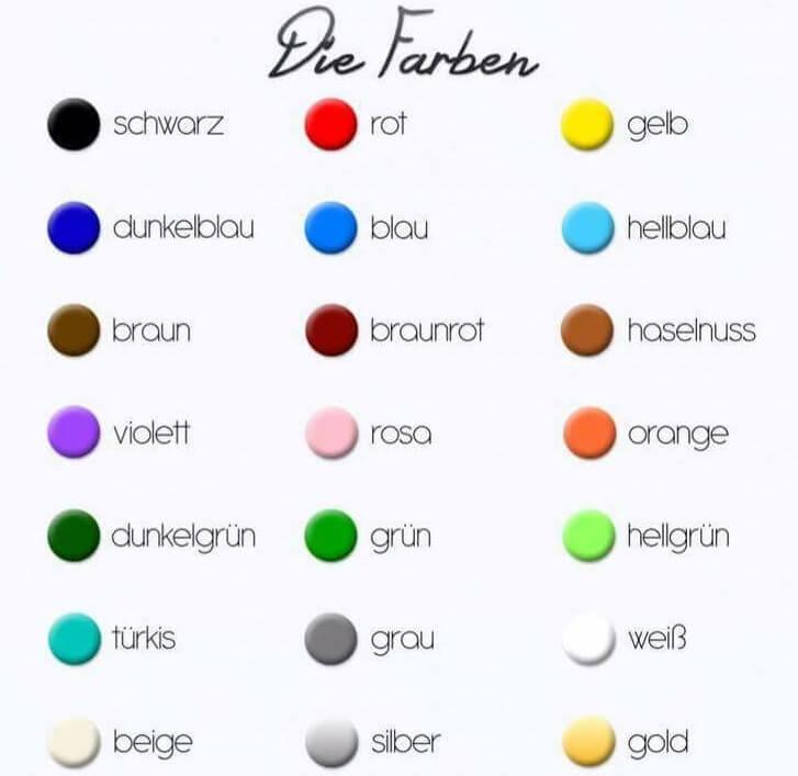 رنگ ها به زبان آلمانی