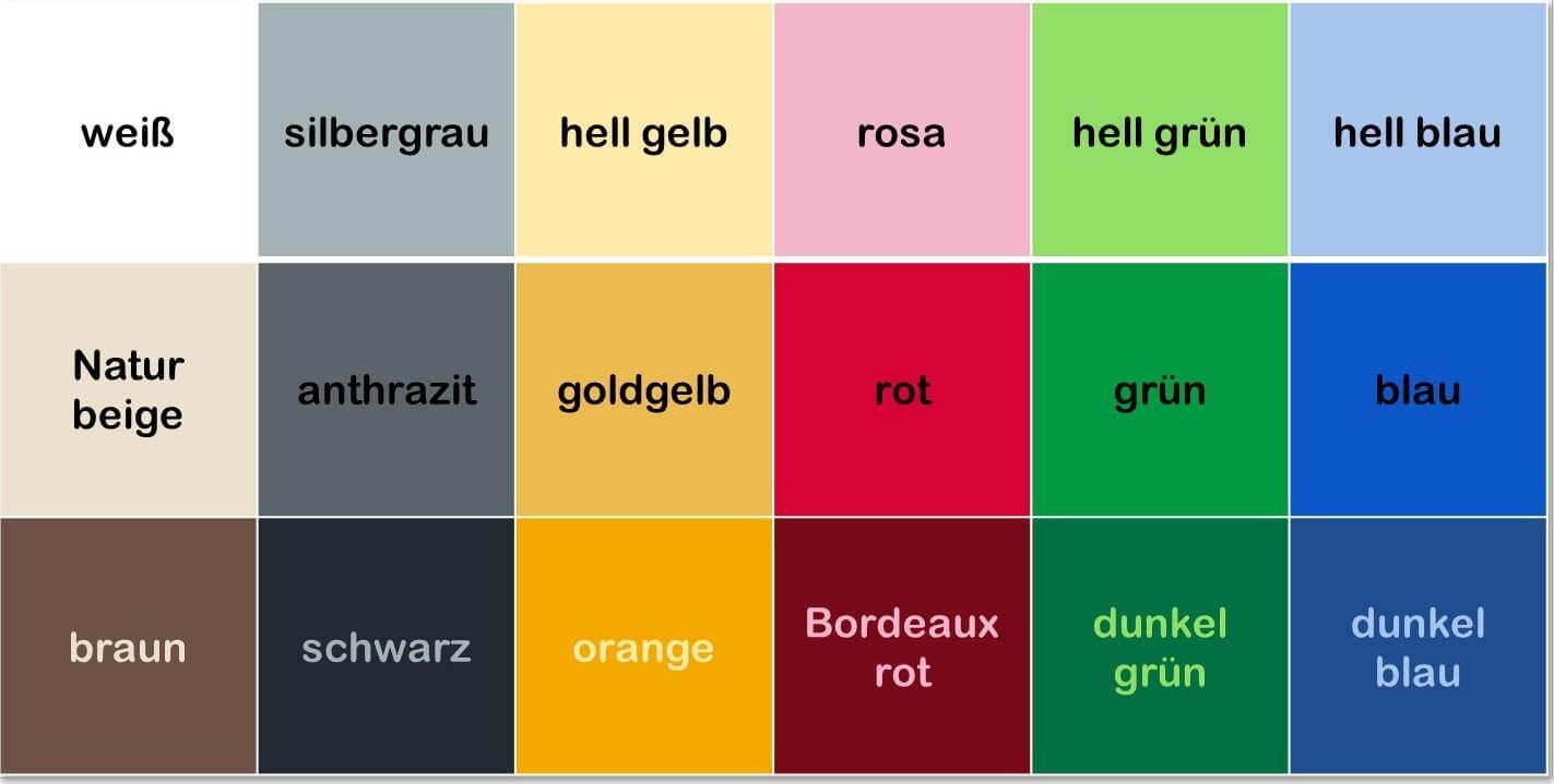 رنگ ها به آلمانی